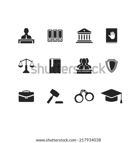 Set of black law and justice icons with a Judge briefcase  book  hammer  jurors handcuffs scales  hat  lawyer  court  building icon police oath - stock vector