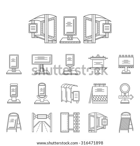 Set of black line vector icons for elements of outdoors advertising. Billboards, bus station advert, road ad boards and other samples for business and web design. - stock vector