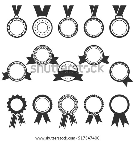 set of black medal icons and award badges