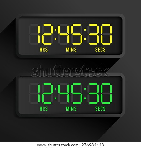 Set of Black Modern Digital Watch : Vector Illustration - stock vector
