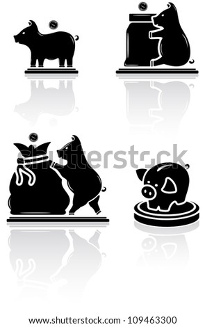 Set of black moneybox icons on white background, illustration
