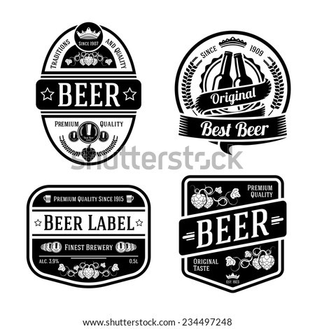 Set of black monochrome beer labels of different shapes. Vector - stock vector