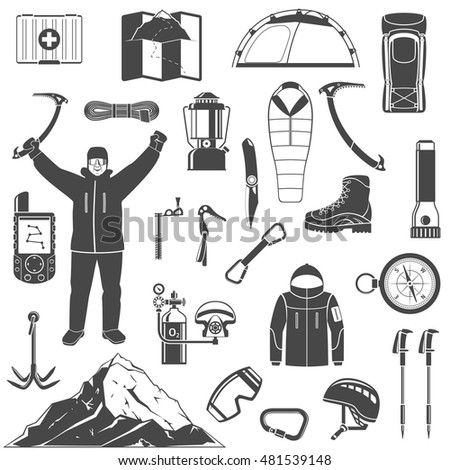 Set Of Black Mountaineering, Climbing, Hiking And Trekking Elements And Icons For Your Design. Modern Flat Vector Illustration