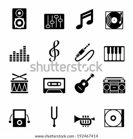 Set of black music icons vector illustration design elements. - stock vector