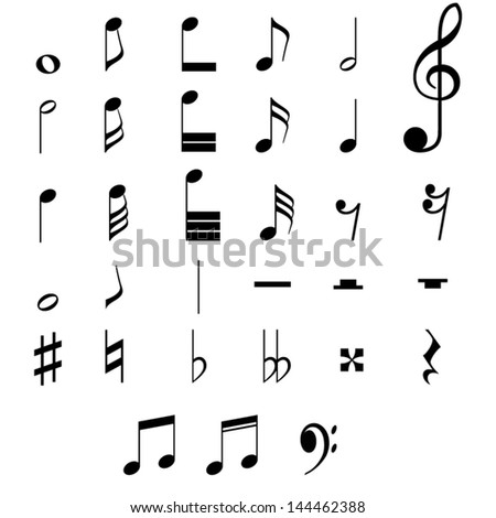 Set of black musical notes on white background. A vector illustration. - stock vector