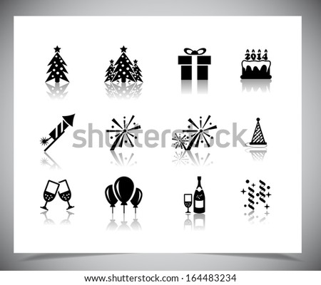 Set of black new year icons. Vector illustration. - stock vector