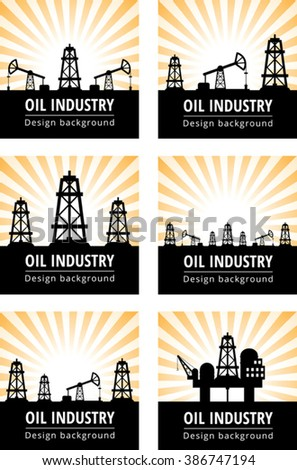 Set of black oil derrick on rays background - stock vector