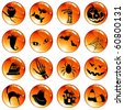 Set of 16 black-on-orange Halloween buttons (Eps10); jpg version also available - stock photo