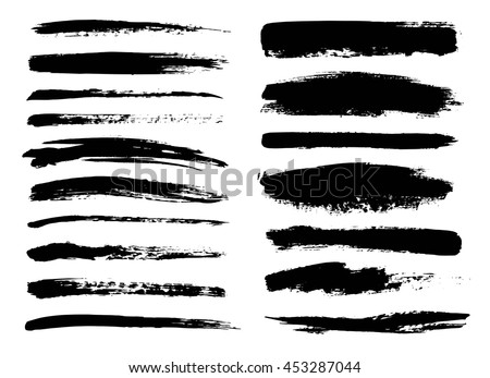 Set of black paint, ink brush strokes, brushes, lines. Dirty artistic design elements. - stock vector