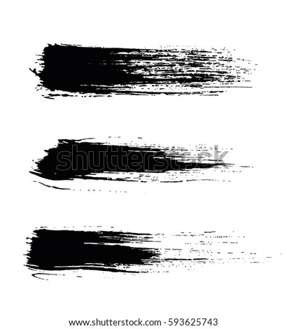 Set of black paint, ink brush strokes, brushes, lines. Dirty elements. - stock vector.
