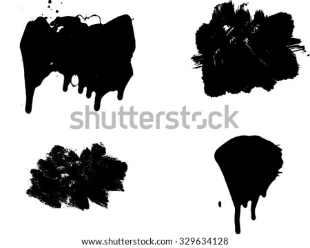 Set of Black Painted Grunge Banners . Vector . - stock vector
