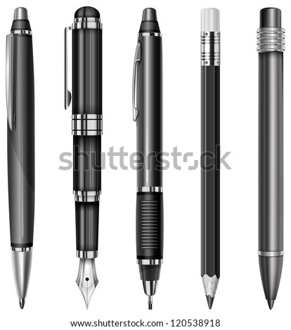 Set of black pens and pencils isolated on white, vector illustration - stock vector