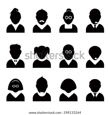 Set of black people icons. Vector Avatar Illustration