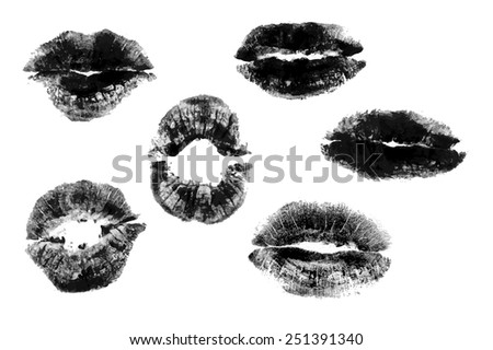 set of black print of lips on a white background. - stock vector