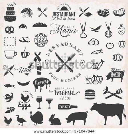 Set of Black Restaurant Badges and Menu Food Elements on Grungy Background - stock vector