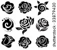 Set of black rose flower design elements - stock photo