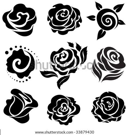Set of black rose flower design elements - stock vector