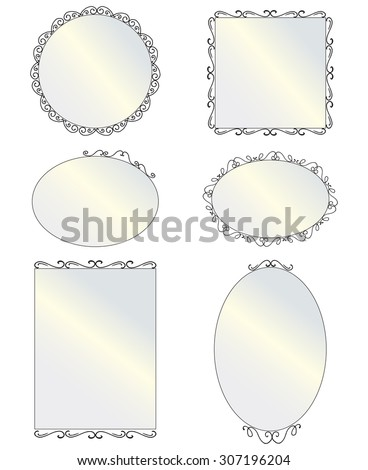 Set of black round and square vintage mirror, design elements. Illustration of hanging mirrors on a light background. Vector Illustration of six different elegant oval and square shaped mirrors. - stock vector