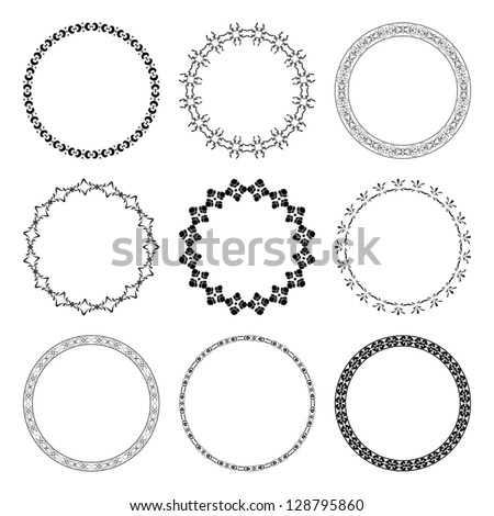 set of black round frames with ornament - vector - stock vector