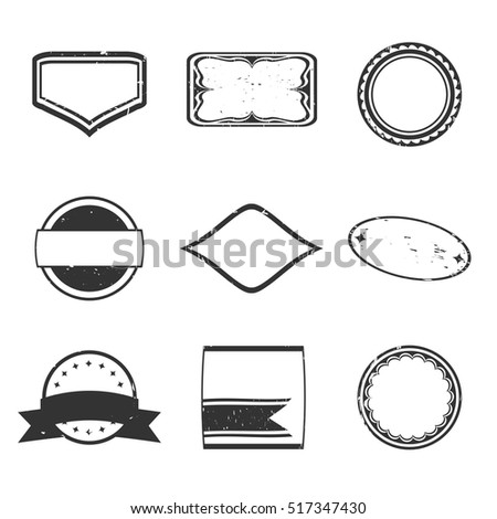 set of black rubber stamps