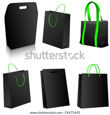 Set of black shopping bags. Vector