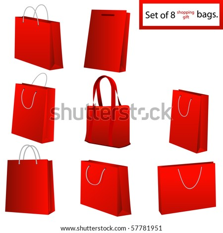 Set of black shopping bags. Vector illustration. - stock vector