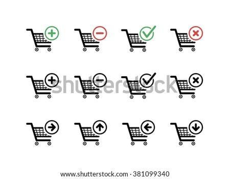 Set of black shopping carts icons with add, delete and move signs on white - stock vector