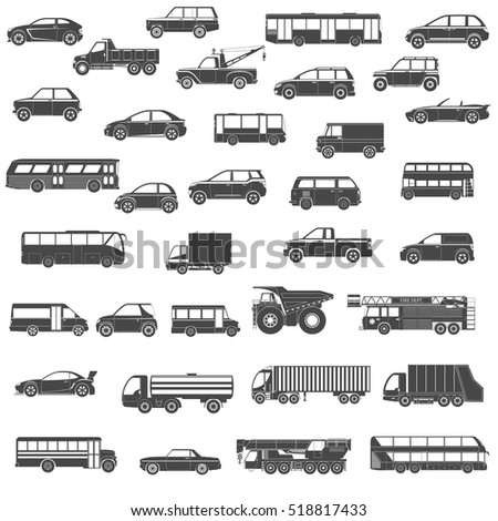 Set Of Black Silhouette Car, Bus and Truck Icons. Isolated Vector Illustration