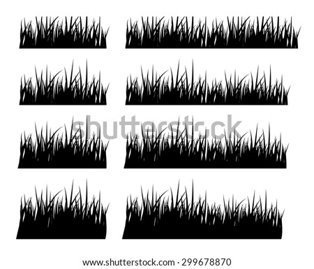 Set of black silhouette grass in different height. isolated on white background