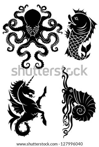 Set of black silhouette on sea heraldry element - stock vector