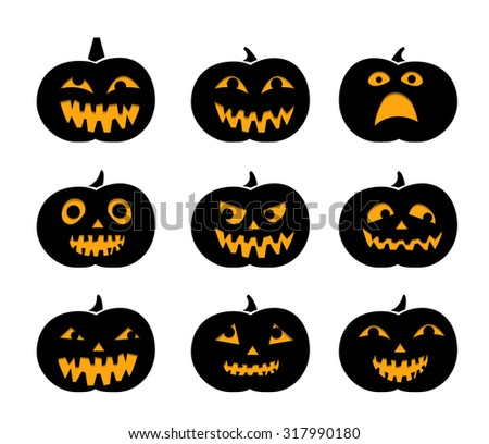 Set of black silhouette pumpkins with eyeball for Halloween