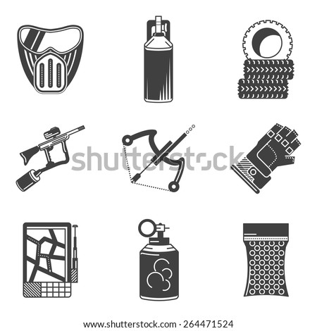 Set of black silhouette vector icons for paintball equipment and accessory on white background. - stock vector