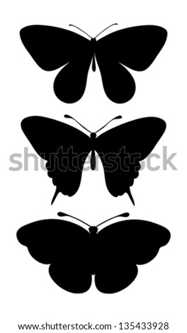 set of black silhouettes of butterflies. Many similarities to the author's profile - stock vector