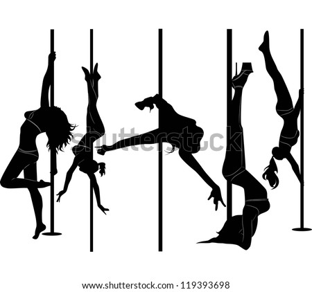 set of black silhouettes of dancing girls striptease - stock vector