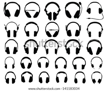 Set of black silhouettes of headphones, vector - stock vector