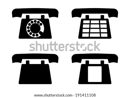 Set of black silhouettes of old phones on a white background. Vector  - stock vector