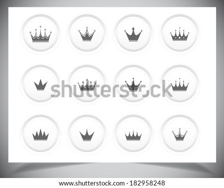 Set of black simple crowns. Vector illustration - stock vector
