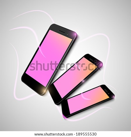 Set of black smart phones connected with others - stock vector
