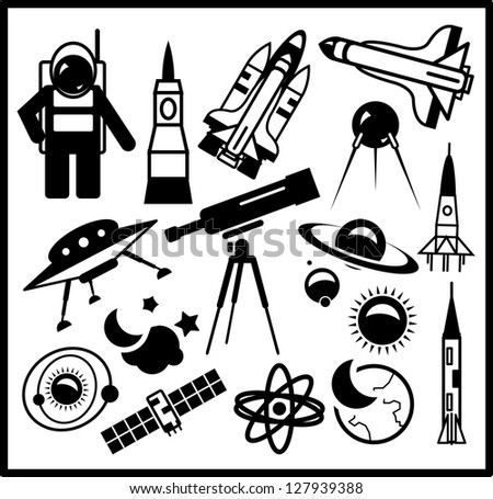 Set of black space icons isolated on white - stock vector