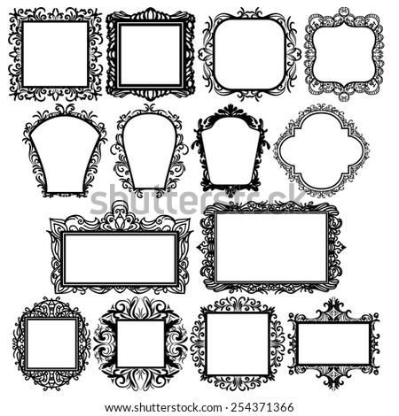 Set Black Square Vintage Frames Design Stock Vector 254371366 ...