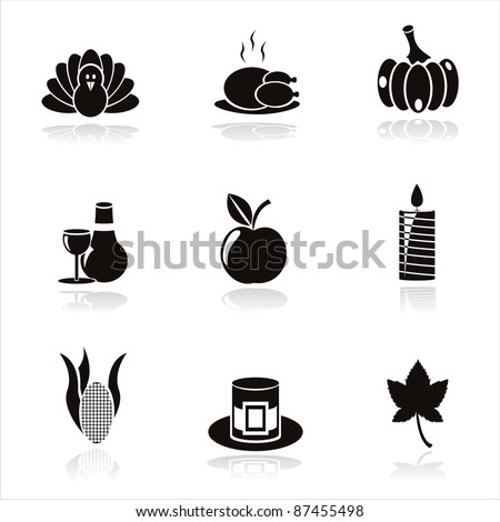 set of 9 black thanksgiving day icons - stock vector
