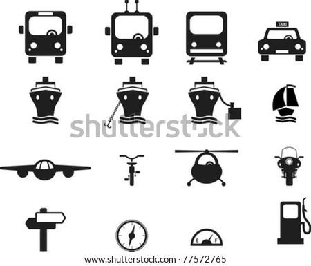 Set of black transportation icons. - stock vector