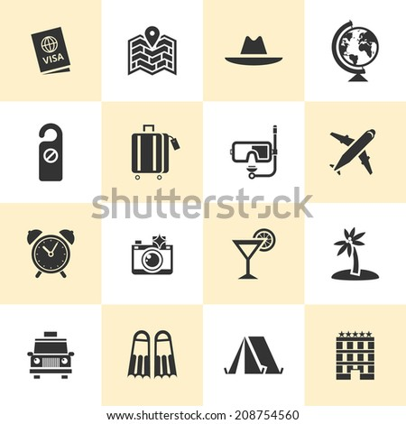 Set of black travel icons. Vector travel icons in flat simple style.  - stock vector