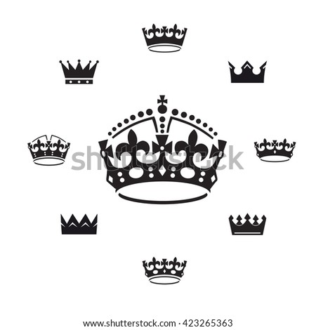 Set of black vector crowns. Vector Illustration.