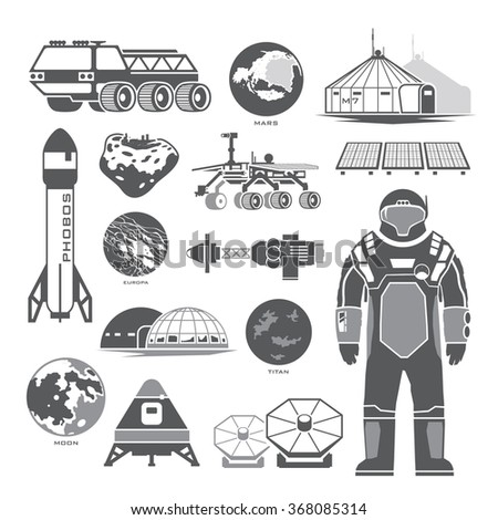 Set of black vector elements on the theme of astronomy, space exploration, colonization of Mars, moon, Europa and Titan. Space adventure. The first colonies. Terraforming. - stock vector