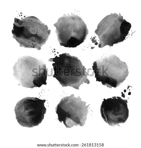 Set of black vector watercolor stain. - stock vector