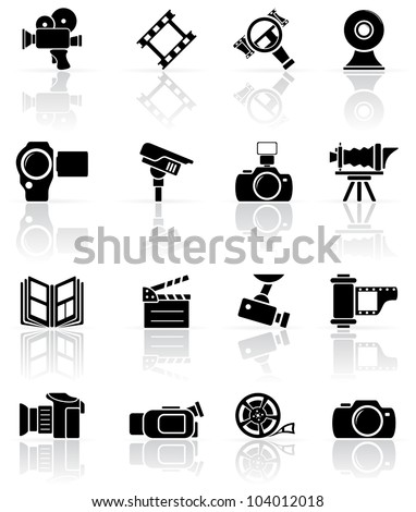 Set of black video and photo icons, illustration - stock vector