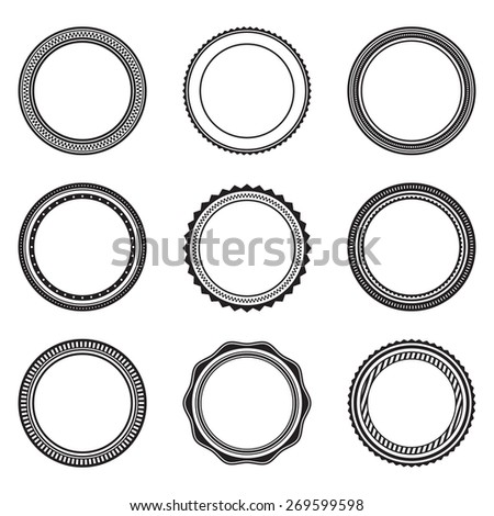 Set of black vintage circular frames with ornament. A set of abstract black symbols. Collection of retro banners - stock vector