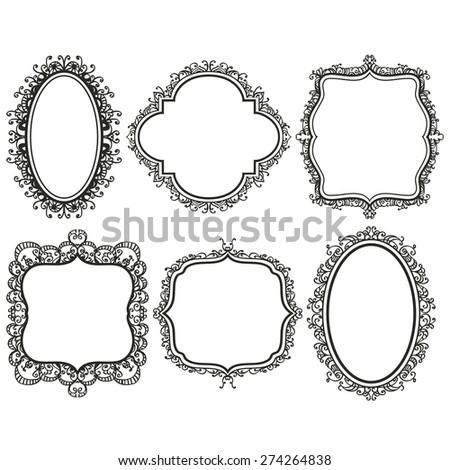 set of black vintage frames on white background, design elements - stock vector