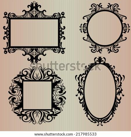 Set Black Vintage Frames Square Round Stock Vector 217985533 ...